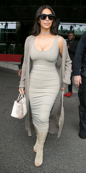 dress bodycon dress kim kardashian grey midi dress booties kardashians cardigan grey cardigan oversized cardigan shoes