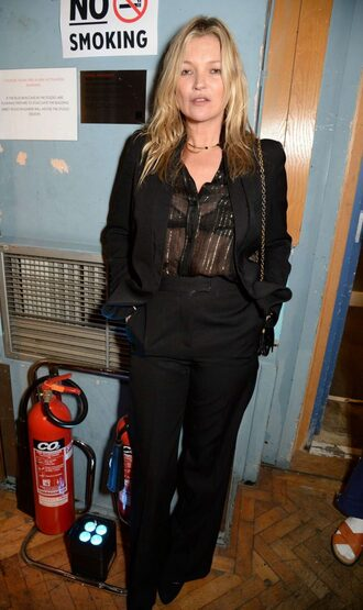 blouse all black everything model off-duty kate moss pants see through