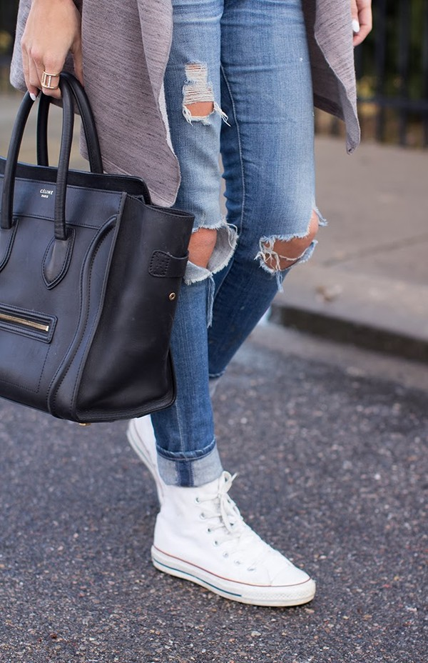 hello fashion tank top sweater jeans bag jewels purse cardigan belt ripped jeans converse white blue denim