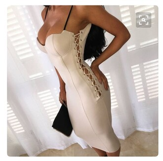 dress bodycon dress bustier dress sexy dress white dress nude sexy nude dress tan lace up spaghetti straps dress