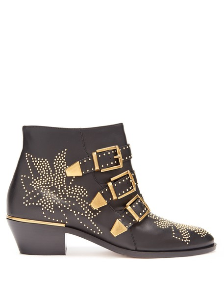 Chloe leather ankle boots ankle boots leather gold black shoes