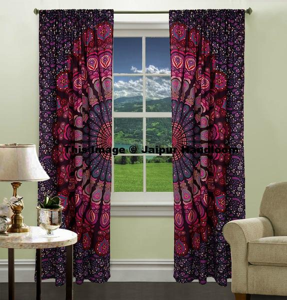 Indian Mandala Curtains Cotton Window Curtains Tapestry 2 Panels Wall Hanging