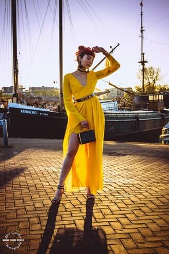 preppy fashionist blogger dress belt bag shoes jewels yellow dress maxi dress handbag belted dress sandals spring outfits
