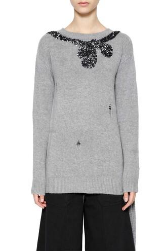 sweater bow grey