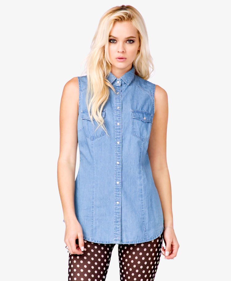 Chambray sleeveless shirt t shirt design database for Chambray top