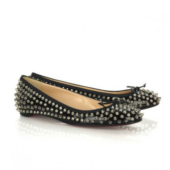 shoes christian louboutin womens christian louboutin big kiss studded flats black flats