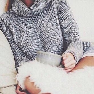 sweater cozy grey sweater