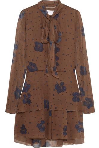 dress mini dress bow mini silk navy brown