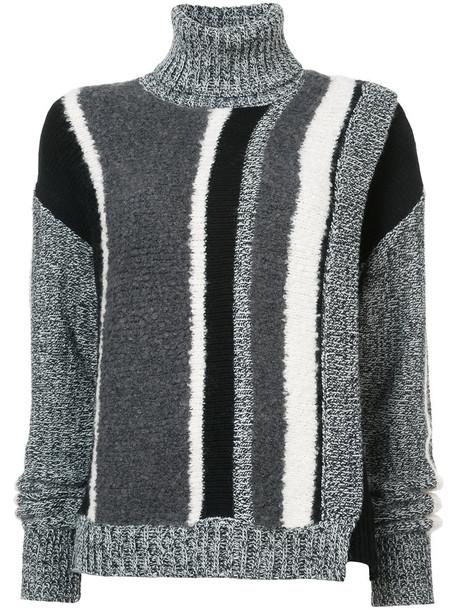Yigal Azrouel - striped turtleneck sweater - women - Acrylic/Nylon/Wool - XS, Black, Acrylic/Nylon/Wool