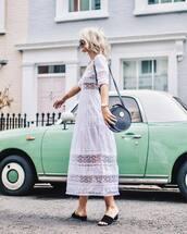 dress,midi dress,tumblr,white dress,white lace dress,lace dress,shoes,mules,bag,round bag