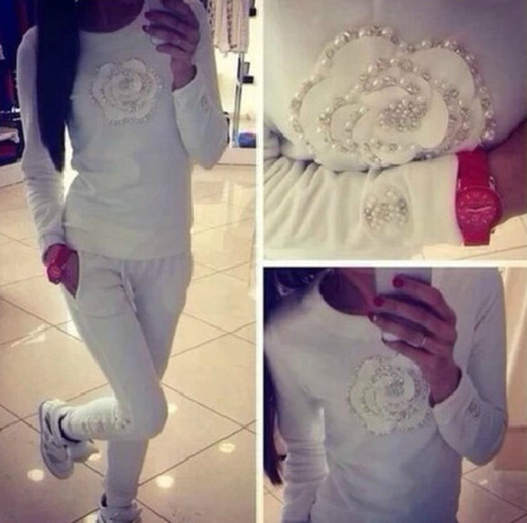 pants white long sleeves women sport suit pearl flower print o neck casual