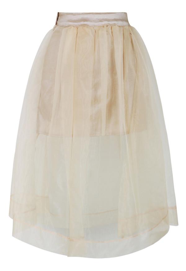 skirt sheer beige organza a-line midi