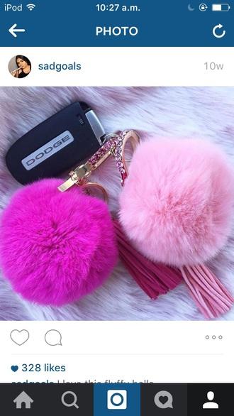 pink purple cream black fluffy puffy keychain fur keychain small purse purse all pink wishlist