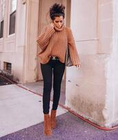 sweater,ribbed sweater,black skinny jeans,turtleneck sweater,long sleeves,brown,knitted sweater,brown boots