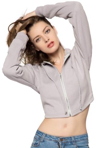sweater zip crop hoodie hipster grey long sleeves light grey cropped hoodie zaful urban joggers workout athletic swag streetwear