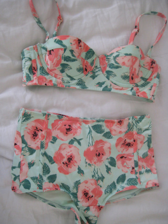 swimwear bikini summer pink peach high waisted high waisted bikini african american bag high waisted flowers dress floral swimwear green mint vintage floral bikini swimsuit high waisted floral vintage bikini floral pretty