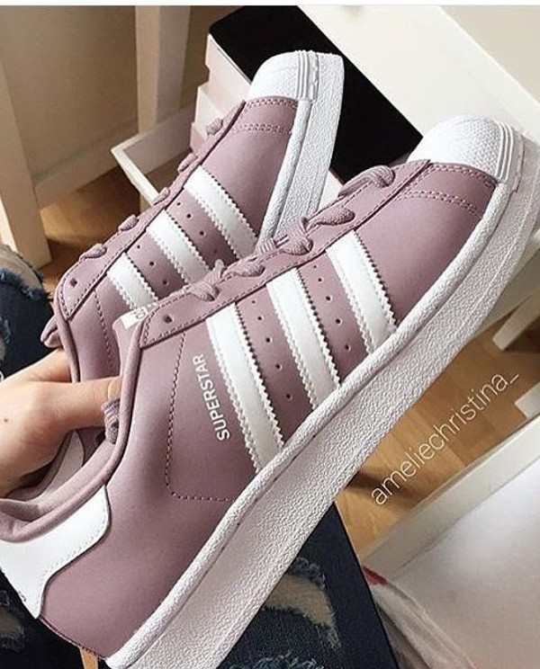 shoes, adidas, instagram, superstar, kylie jenner, kardashians, purple, pastel pink, white, adidas superstars, pastel, adidas shoes, light purple, ...