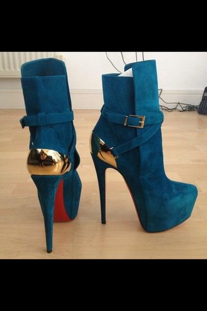 6da9bb742231 shoes louboutin christian louboutins heels loubou red bottoms heels heels  on gasoline blue high heels platform