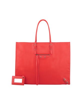 Balenciaga Papier A4 Leather Tote Bag, Red - Neiman Marcus