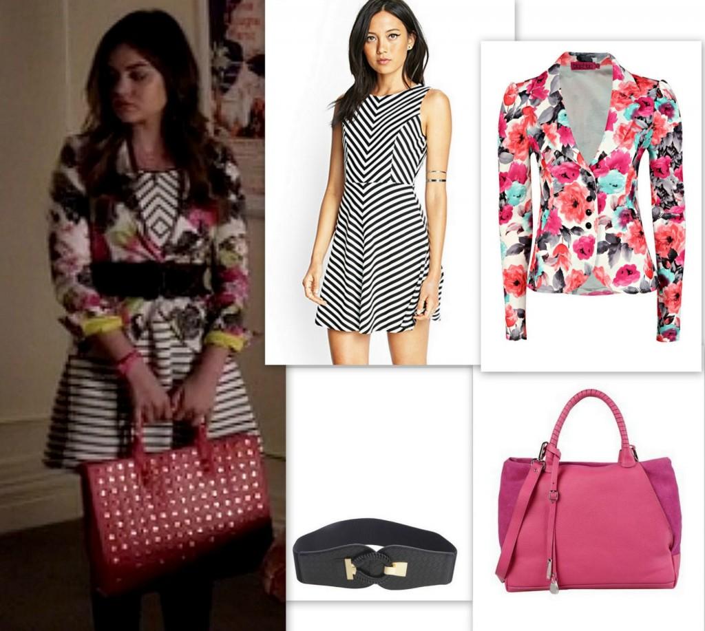 PLL - Aria's Style - Floral Blazer, Chevron Dress