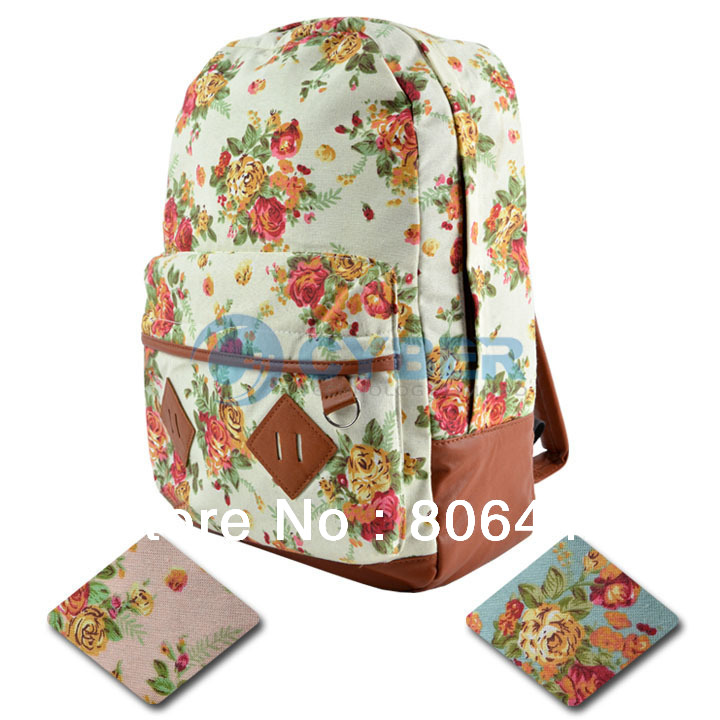 Canvas Backpack College New Fashion Girls' School Bag Flowers Women ...