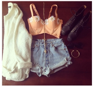tank top shorts sweater flowers bustier bralette daisy hipster cute orange floral indie hippie jacket shirt pink pink bra peach bralette bikini swimwear summer clothes crop tops peach white white top corset top jewels bralet top corset bra t-shirt crop tank