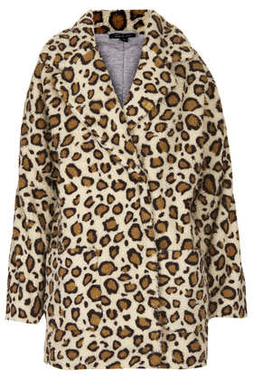 Leopard Borg Ovoid Coat - Jackets & Coats  - Clothing  - Topshop