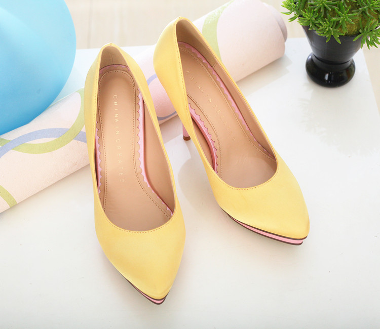 1ecaf3c90457d0 Aliexpress.com   Buy Pointed Toe Unique Heart Platform 10.5cm Stiletto Heel  Pumps Green Yellow Satin Wedding ...