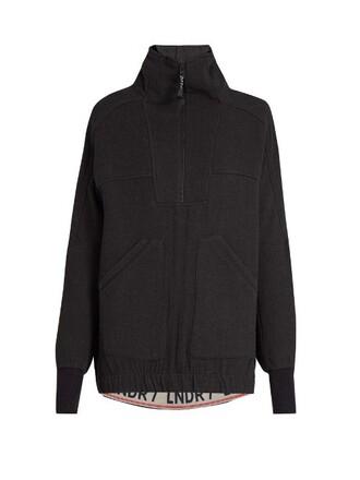 sweater zip wool dark grey