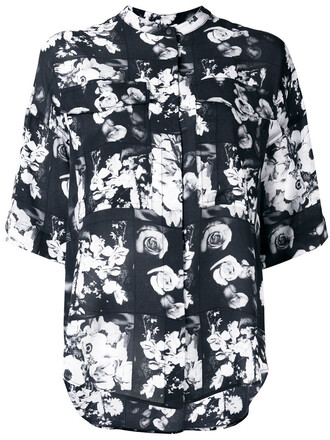 top women floral print black silk