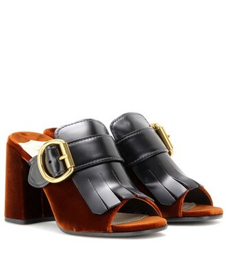 mules leather brown shoes