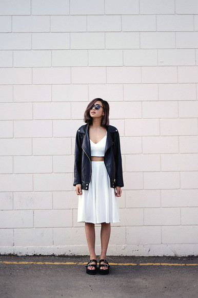 shoes jacket white top sunglasses hipster ordinary people skirt leather jacket two-piece white dress crop tops sandals platform sandals platform shoes