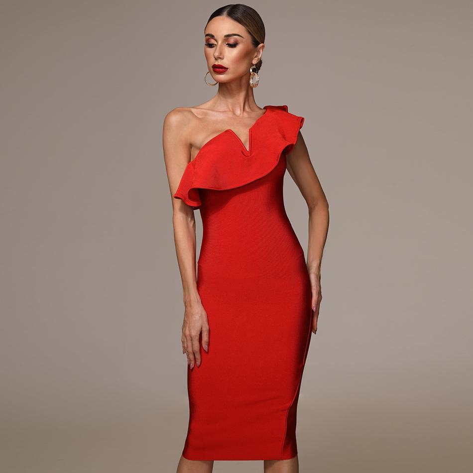 ruffle one shoulder bandage dress