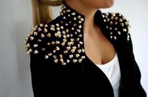 jacket black and gold studded jacket