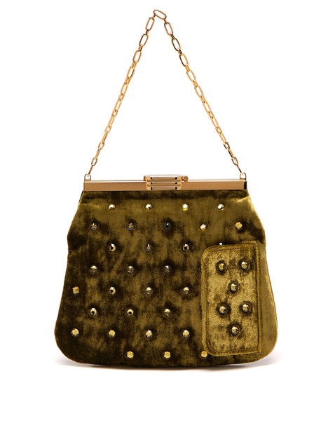 BIENEN-DAVIS 4AM crystal-embellished velvet clutch in khaki