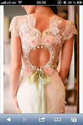 dress,baige,flowers,lace,wedding dress,lace wedding dress,wedding,bridal gown
