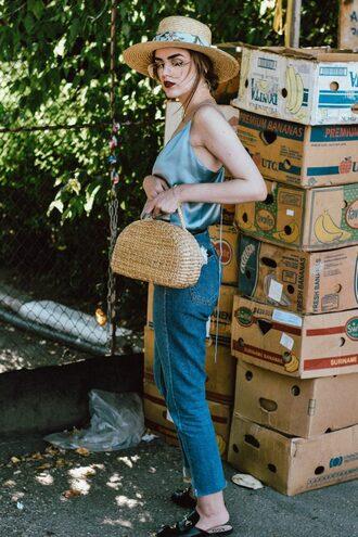 top tumblr silk camisole denim jeans blue jeans bag basket bag shoes mules hat sun hat