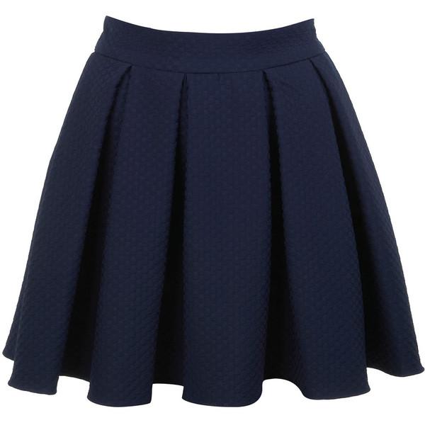 miss selfridge navy textured skater skirt polyvore