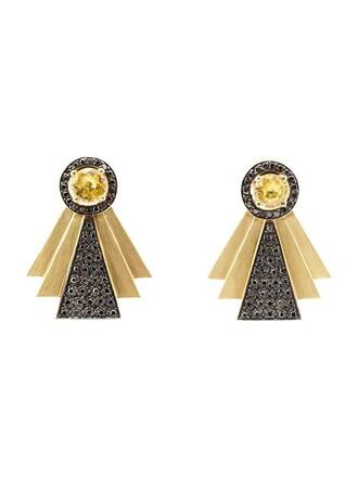 style earrings yellow orange jewels