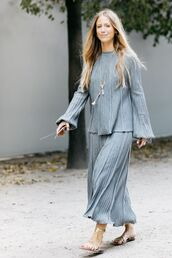 skirt,maxi skirt,all grey everything,grey skirt,top,long sleeves,grey top,sandals,flat sandals,gladiators