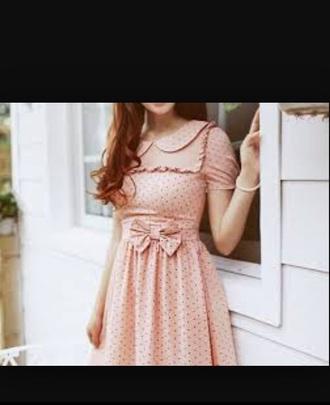 dress light pink dress collared dress collared vintage dress girly girly wishlist girl bow dress bows bow polka dots polka dots dress