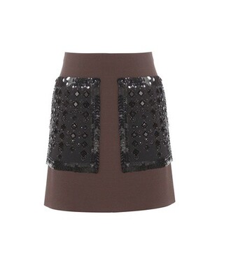 skirt embellished wool brown
