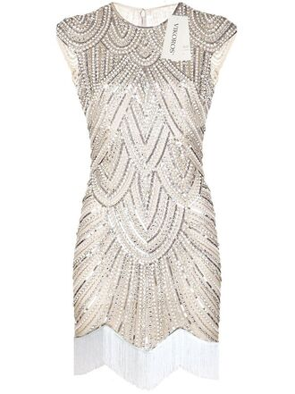 dress 2015 2016 new year's eve party the great gatsby 1920s 20s vintage handmade retro tassel sequins flapper cream beige tan white