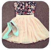 skirt,floral,floral shirt,flowy skirt,black,blue,pink,cream,cream skirt,high waisted skirt,crop tops,bandeau,corset top,shirt,skater skirt,dress