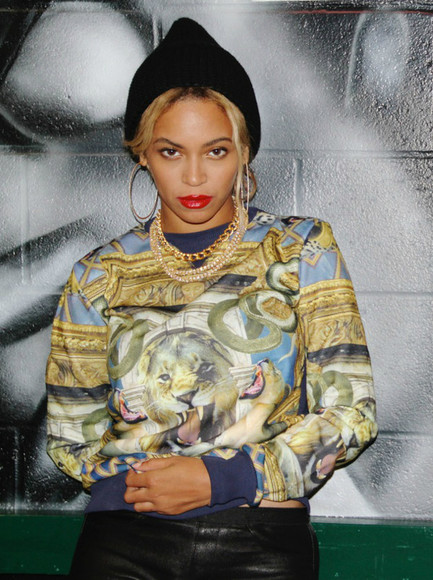 fashion designers sweater sweatshirt beyonce beyonce knowles tiger beanie black beanie swag crewneck most wanted
