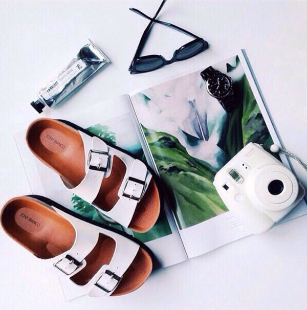 shoes sandals make-up white hipster buckles