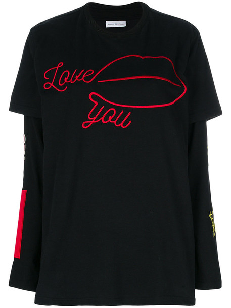 Chiara Ferragni t-shirt shirt t-shirt embroidered women love cotton black top