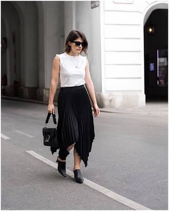skirt black skirt tumblr asymmetrical asymmetric shirt midi skirt mules shoes top white top bag black bag t-shirt