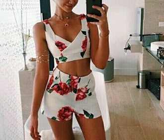romper shors crop tops cute roses red white girl cute outfits