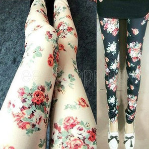ab2ff8a05be65 New Womens Cotton Flower Print Pencil Soft Stretch Tights Skinny Leggings  Pants   eBay